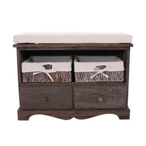 Hnědá dřevěná lavice s košíky Mendler Shabby