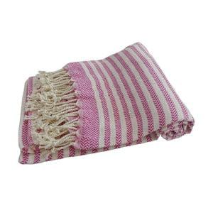 Růžová ručně tkaná osuška z prémiové bavlny Homemania Safir Hammam,100x180 cm