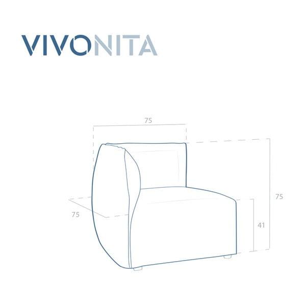Béžový levý rohový modul pohovky Vivonita Cube