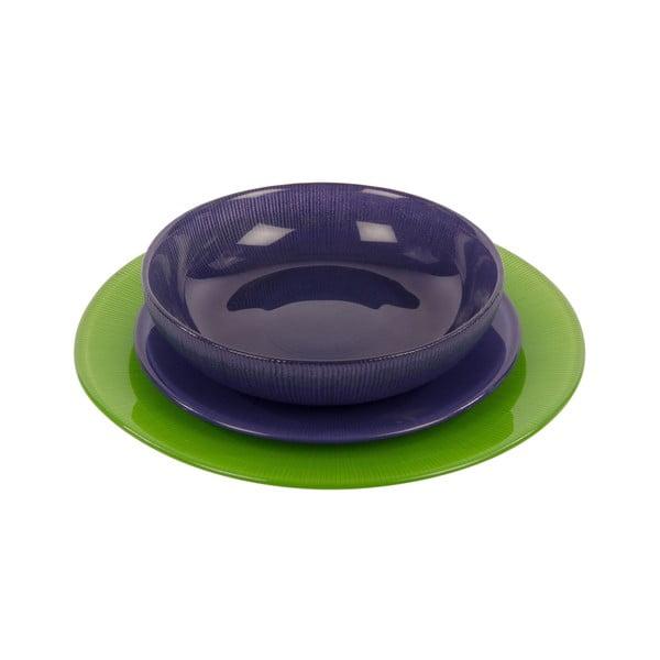 Sada 18 skleněných talířů Viola