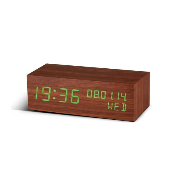 Zelený LED budík Square Click Clock, walnut