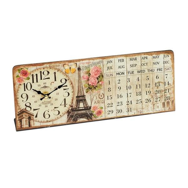 Nástěnné hodiny s kalendářem Eiffel, 35x14 cm