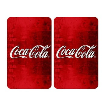 Set 2 protecții din sticlă pentru aragaz Wenko Coca-Cola Classic,52x30cm de la Wenko
