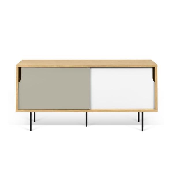 TV komoda v dekoru dubového dřeva s šedo-bílými detaily TemaHome Dann, délka 135cm