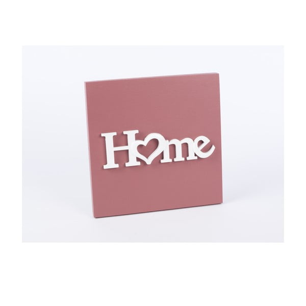 Dřevěný obraz Home 30x30 cm, růžový