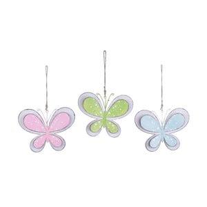 Sada 3 závěsných dekorací ve tvaru motýlků Ego Dekor Spring