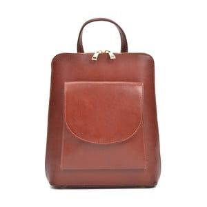 Červenohnědý kožený batoh AnnaLuchini Molly