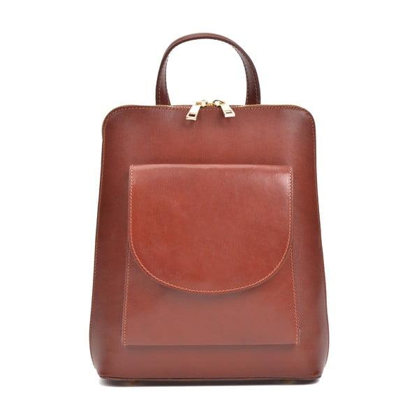 Červenohnedý dámsky kožený batoh Anna Luchini Molly