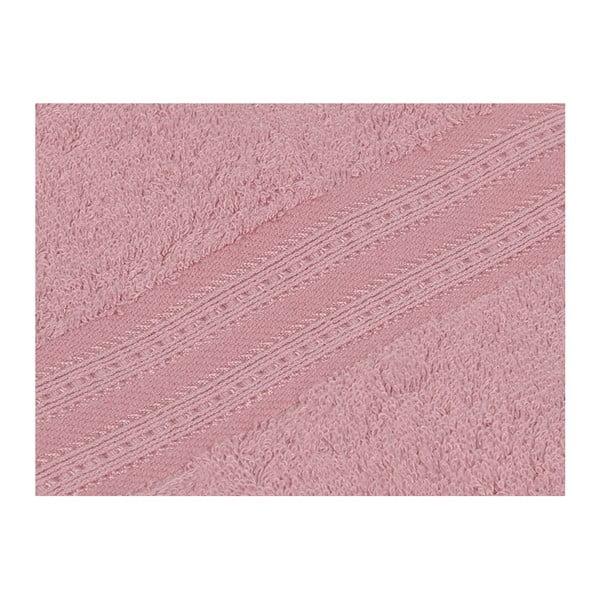 Růžová osuška z bavlny a bambusového vlákna Laverne, 70x140cm