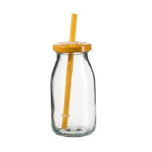 Lahev na smoothie s oranžovým víčkem a brčkem SUMMER FUN II, 200ml