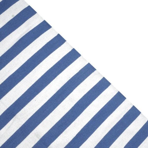 Vlněný koberec Geometry Stripes Blue & White, 160x230 cm