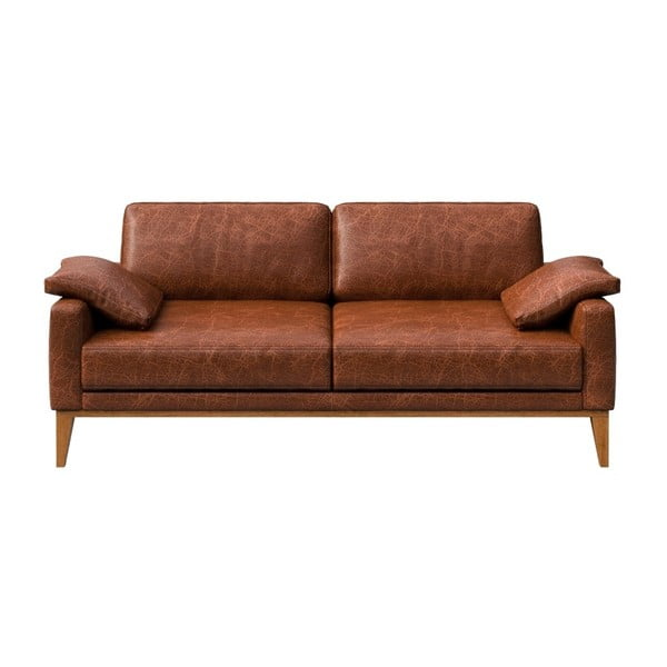 Canapea din piele cu 2 locuri MESONICA Musso, maro coniac