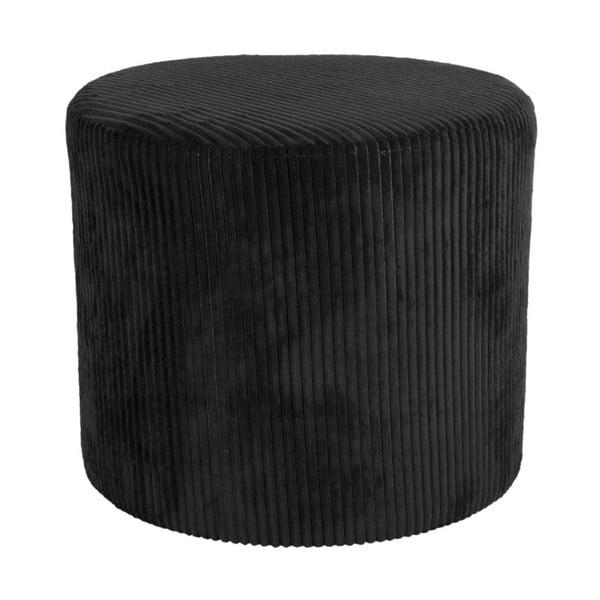 Puf din catifea raiată Leitmotiv Glam, 45 x 40 cm, negru