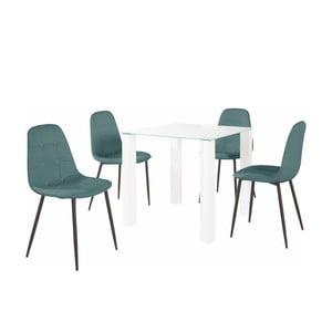Sada jídelního stolu a 4 tyrkysových židlí Støraa Dante, délka stolu 80 cm