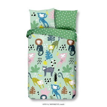 Lenjerie de pat din bumbac pentru copii Good Morning Monkeys Multi, 140 x 200 cm imagine