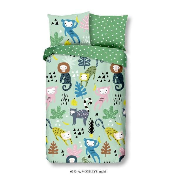 Detské bavlnené obliečky na jednolôžko Good Morning Monkeys Multi, 140×200 cm