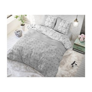 Šedo-bílé bavlněné povlečení na jednolůžko Sleeptime Gino,140x220cm