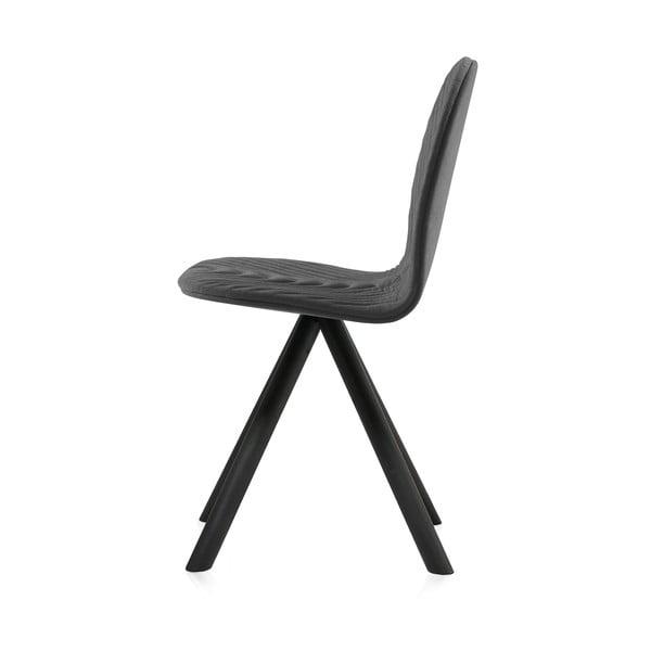 Scaun cu picioare negre Iker Mannequin Wave, gri închis