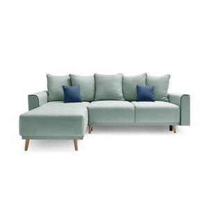 Canapea cu șezlong pe partea stângă Bobochic Candy, verde