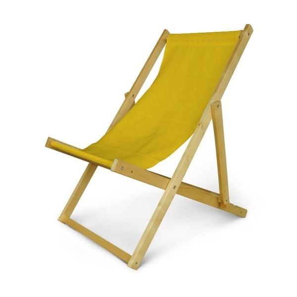 Dřevěné nastavitelné lehátko JustRest, žluté