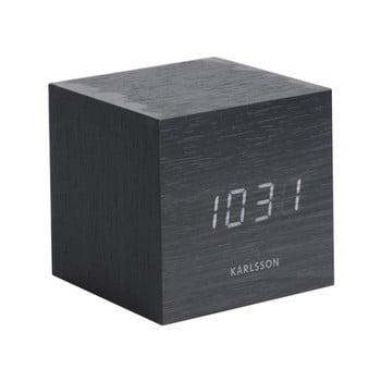 Ceas alarmă Karlsson Mini Cube, 8 x 8 cm, negru imagine