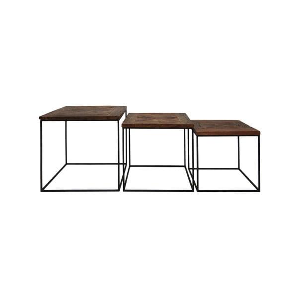 Sada 3 příručních stolků z recyklovaného dřeva HSM collection Austin