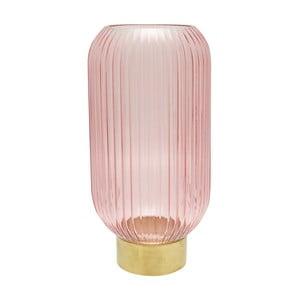 Růžová skleněná váza s kovovým podstavcem Green Gate, výška 31 cm