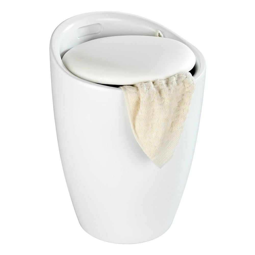 Produktové foto Bílá koupelnová stolička s vyjímatelným košem na prádlo Wenko Candy