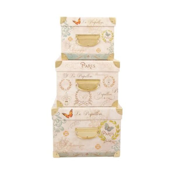 Sada 3 úložných krabic Le Papillon