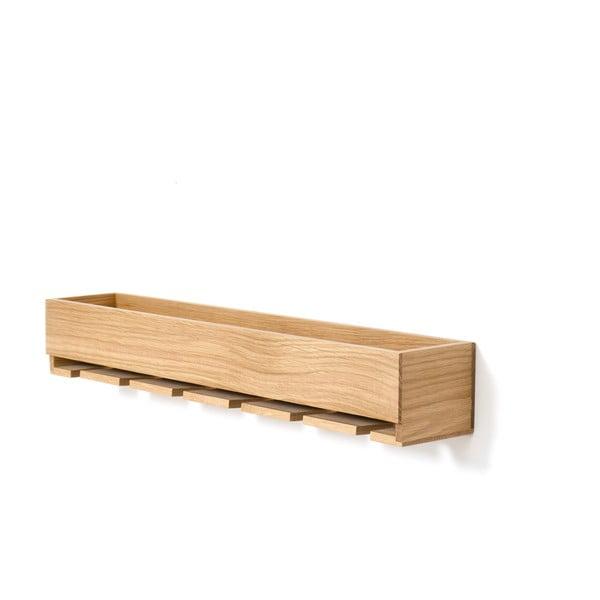 Półka z wieszakiem na kieliszki do wina z drewna dębowego Wireworks