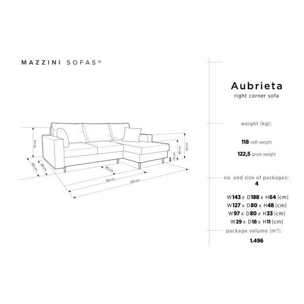 Světle šedá čtyřmístná rozkládací pohovka s úložným prostorem Mazzini Sofas Aubrieta, pravý roh