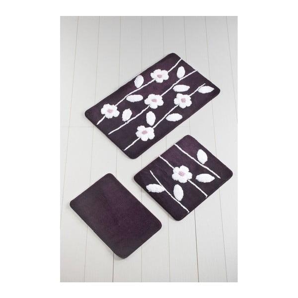 Komplet 3 ciemnofioletowych dywaników łazienkowych Talia