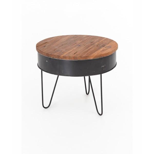 Konferenční stolek s deskou ze zinku a teakového dřeva WOOX LIVING, ⌀60cm