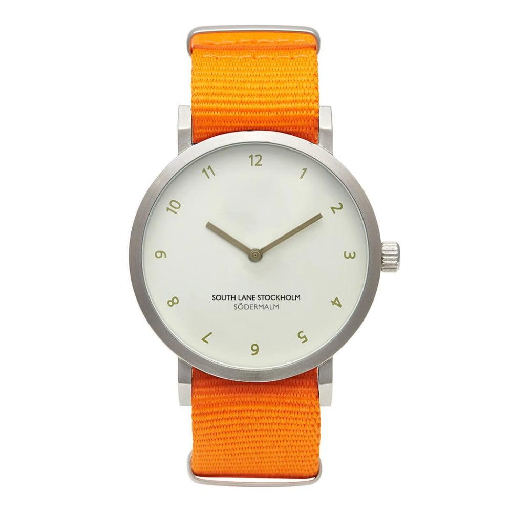 Unisex hodinky s oranžovým řemínkem South Lane Stockholm Sodermalm Big Classy