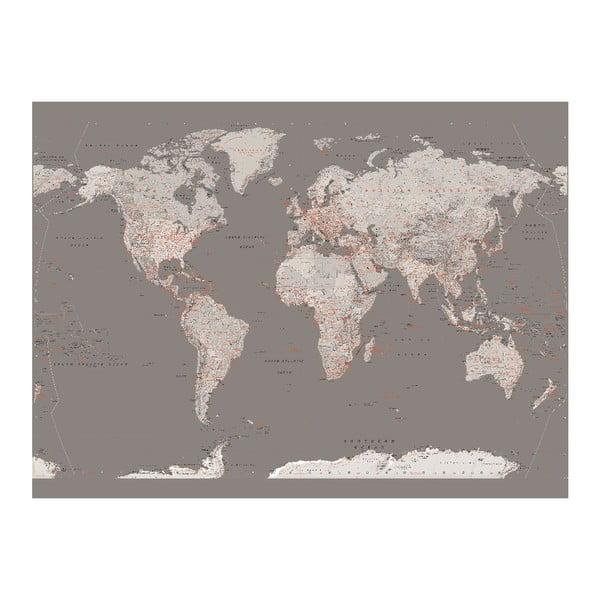 Velkoformátová tapeta Stříbrná mapa, 158x232 cm