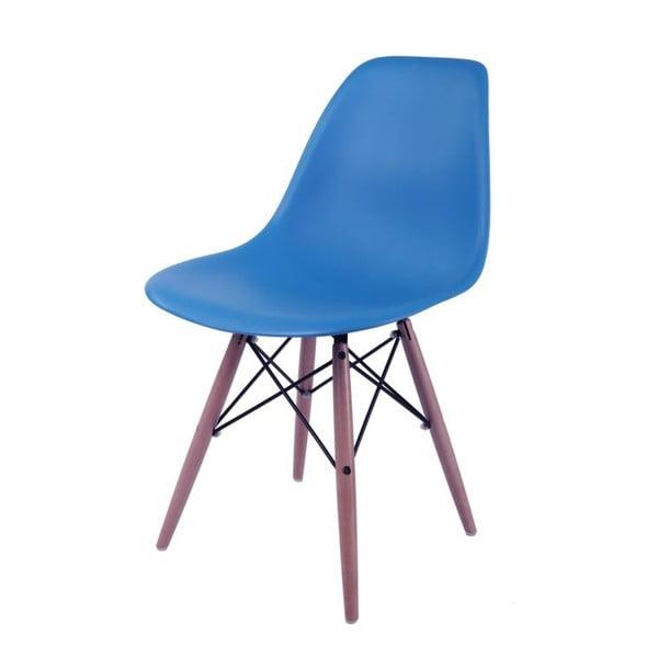 Tmavě modrá židle D2, dřevěné nohy