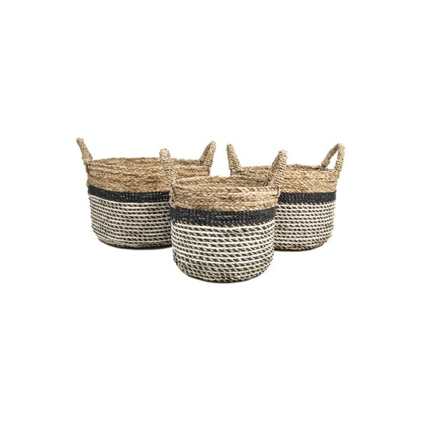 Set 3 coșuri depozitare HSM collection Raffia Natural Gris