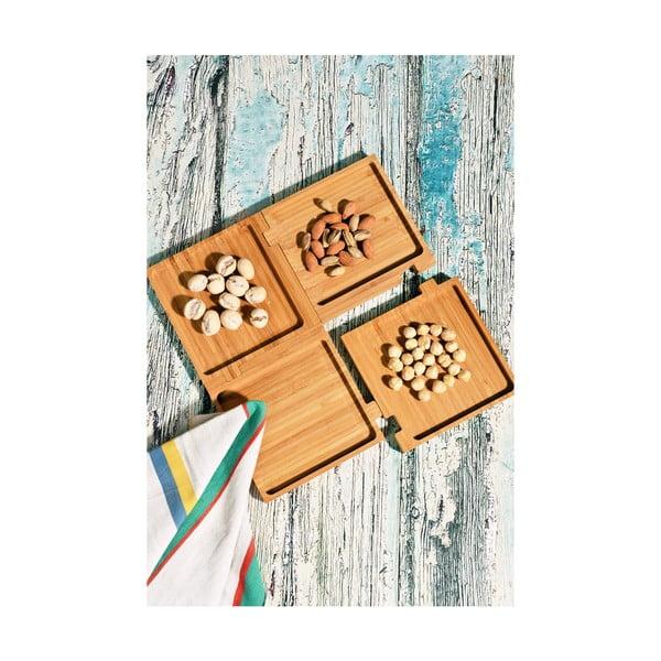 Sada 4 bambusových podnosů Kutahya Snacks Cube, 28 x 28 cm