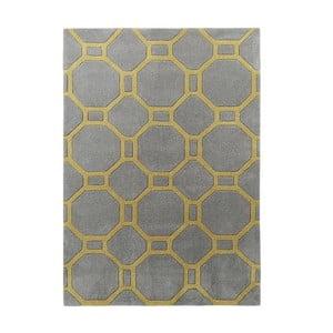 Šedožlutý ručně tuftovaný koberec Think Rugs Hong Kong Tile Grey & Yellow, 120 x 170 cm