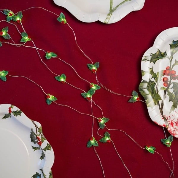 Vánoční světelný řetěz Talking tables Botanical Holly,3m