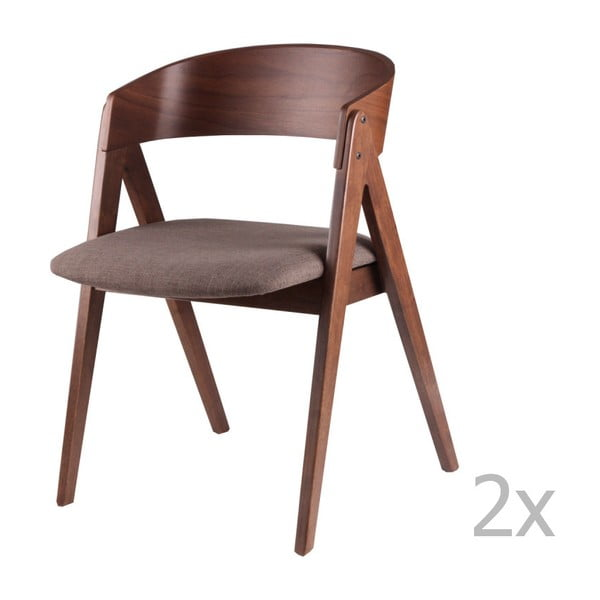 Sada 2 hnědých jídelních židlí sømcasa Rina
