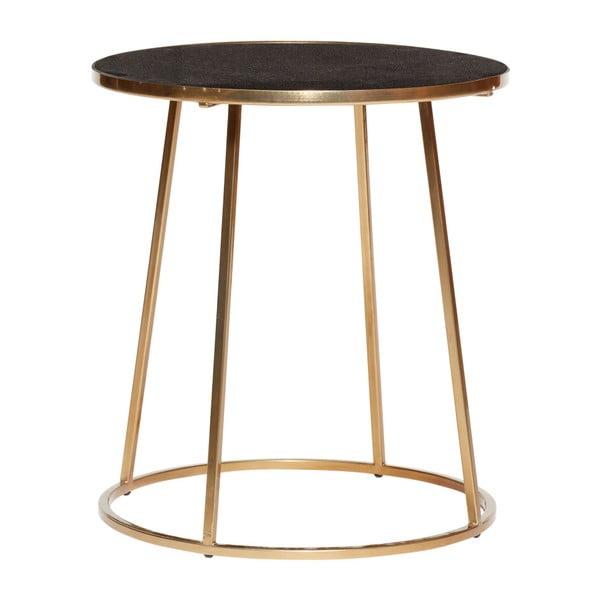 Odkládací stolek s černou mramorovou deskou a podnožím ve zlaté barvě Hübsch Dana