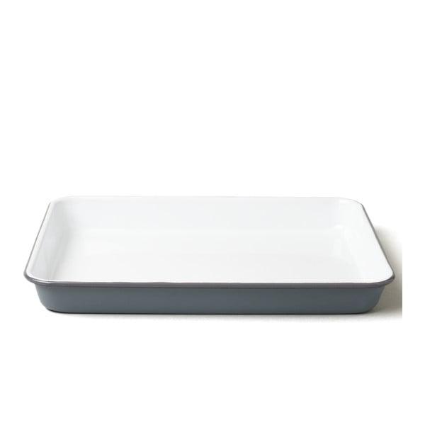 Tavă smălțuită pentru servit Falcon Enamelware, gri-alb