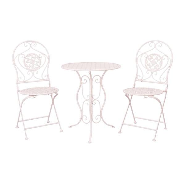 Sada kovového stolku a 2 židlí Provence, světle růžová