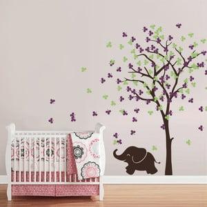 Samolepka na stěnu Slůně a strom, fialovo-zelená - 2 archy, 70x50 cm
