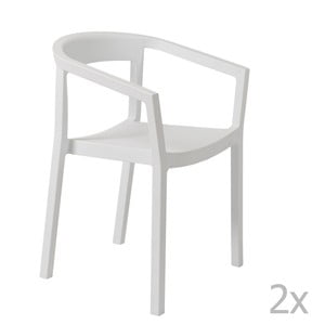 Sada 2 bílých zahradních židlí s područkami Resol Peach