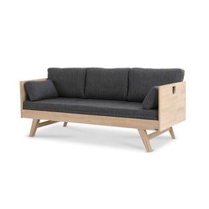 Saltea și pernă pentru canapea Kiteen Notte, 190 x 75 cm, gri - închis