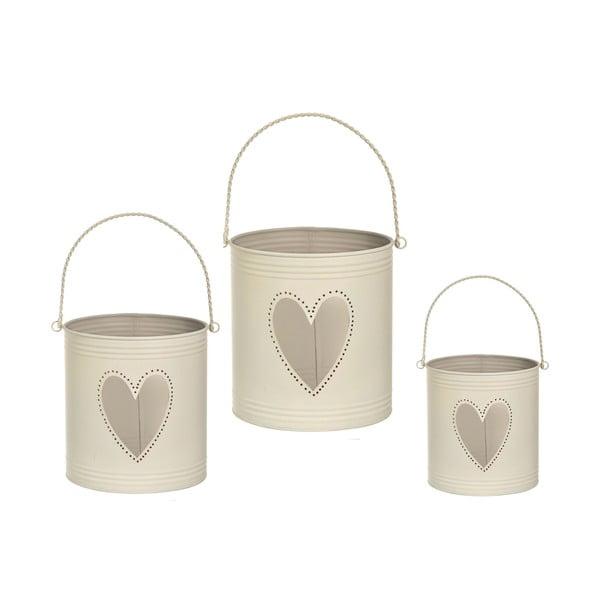Sada 3 luceren Heart Candles, krémová