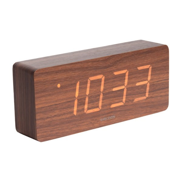 Budzik z elementami drewnianymi Karlsson Cube, 21x9 cm