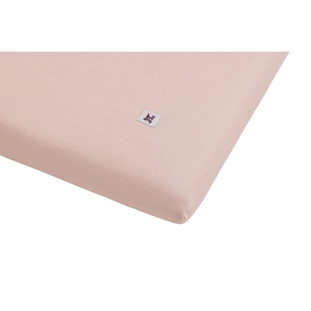 Růžová dětské lněné prostěradlo BELLAMY Dusty Pink, 40 x 90 cm